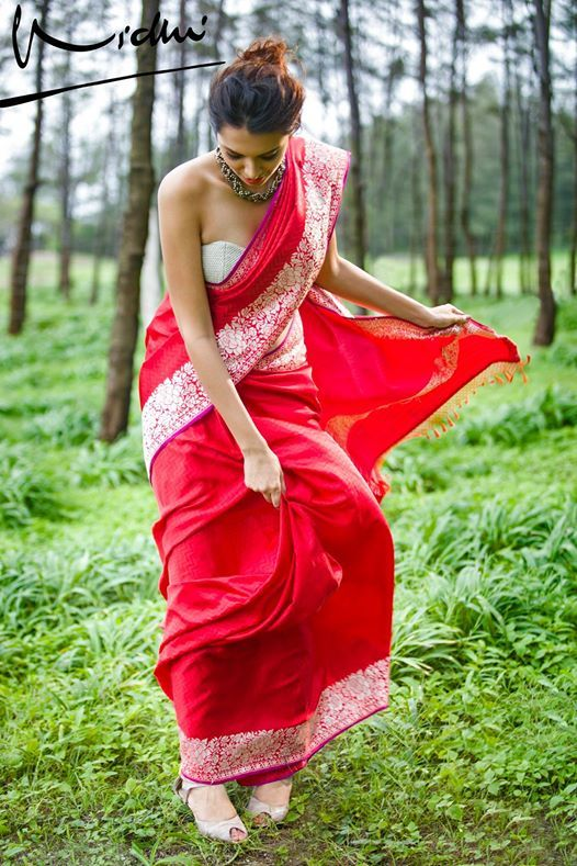Gorgeous Red Benaras Saree from Vidhi Singhania.