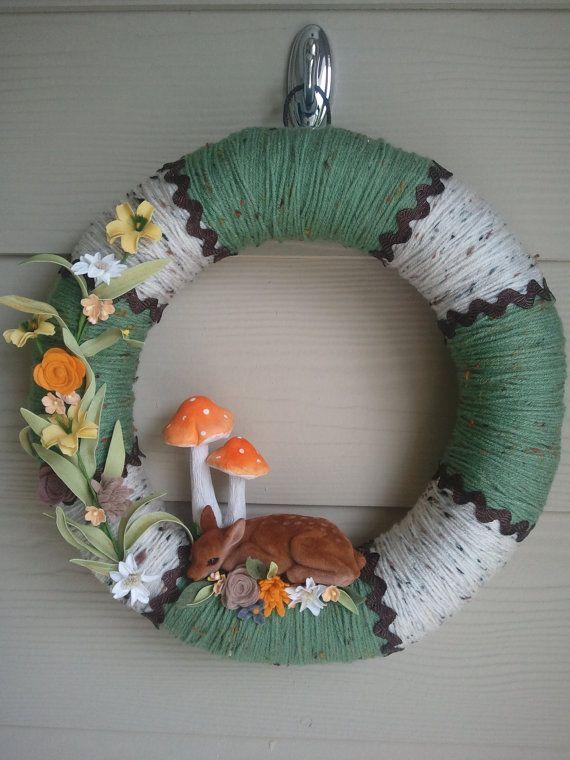 Fawn Spring Yarn Wreath Floral Wreath Door Wreath by CornOnMacabre, $40.00