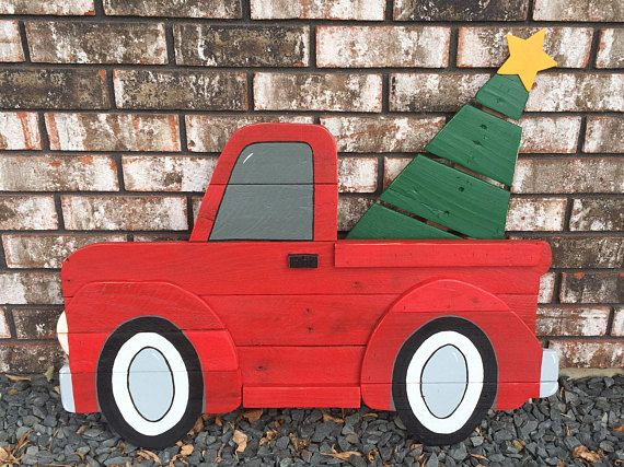 Vintage Red Christmas Truck Sign / Wooden Red Truck /