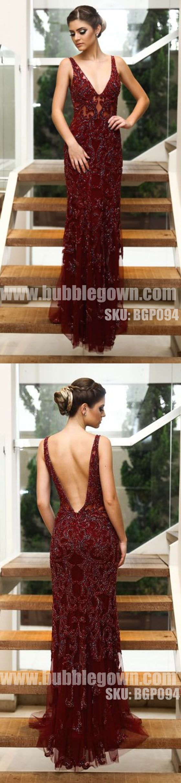 Burgundy V Neck Formal V Back Elegant Evening Long Prom Dress, BGP094 #promdress #promdresses #longpromdress #longpromdresses #eveningdress