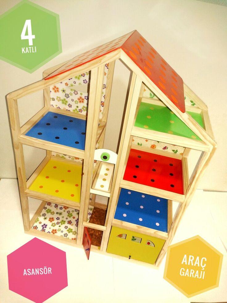 Ahşap Oyuncak Ev  25 × 60 × 86 ebatlarında olup , 1.Kalite İsveç Çamından yapılmıştır...