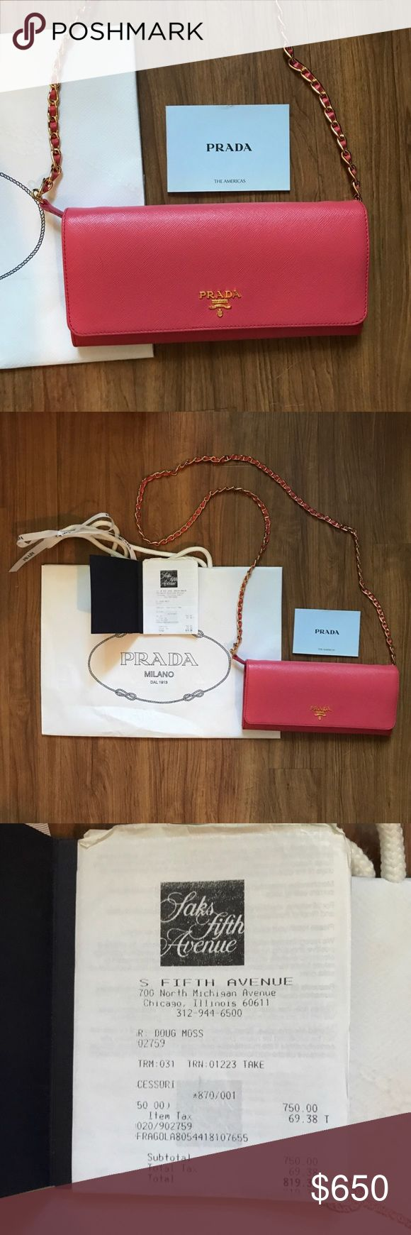 Authentic Prada Saffiano crossbody bag Purchased at Saks in Chicago in 2014. Receipt will come with it and everything pictured. This was relisted due to someone trying to scam me with a trade. I will not trade this bag now!! Will do a lower price via 🅿🅿. Prada Bags Crossbody Bags
