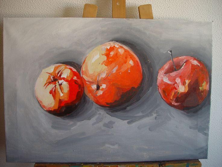 Bodegón. Picado tomate, naranja y manzana.