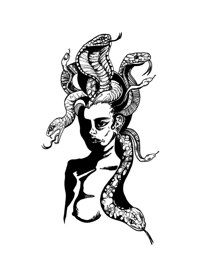 Abstracted Medusa Lady Illustration Black and White