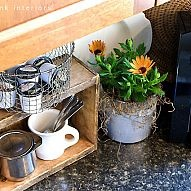 Coffee pod storage... with a crate and a deep fryer basket After visiting Susan's kitchen on HomeTalk at: http://www.hometalk.com/469857/i-m-...