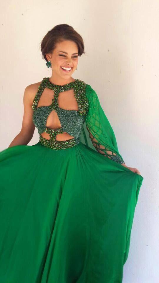 Miss South Afria 2014: Rolene-Strauss, in a dress by Gert Joha Coetzee / Miss Afrique du Sud 2014 alias Rolene Strauss dans une magnifique robe émeraude de Gert Johan Coetzee
