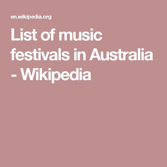 List of music festivals in Australia - Wikipedia
