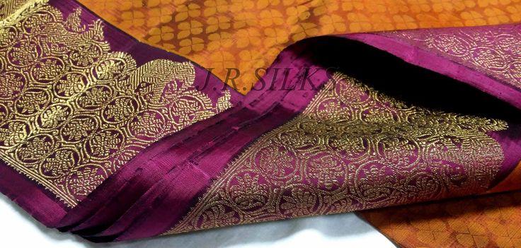 Mango Yellow Kanjivaram Saree with Magenta border from Kanchipuram JR Silks www.YarnStyles.com