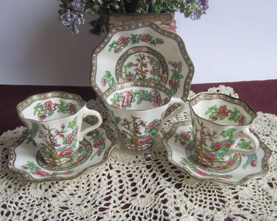 Coalport INDIAN TREE Bone China Cups and Saucers - Older Stamp  Lot of 3 - Two Demi Tasse and One Full Size