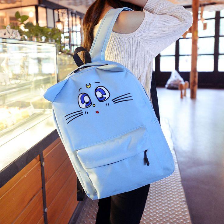 CIKER Harajuku Style Backpack Sailor Moon Nylon Backpack Cute Cat Shoulder Bag School Bags For Teenager Girls Book Bag Rucksack