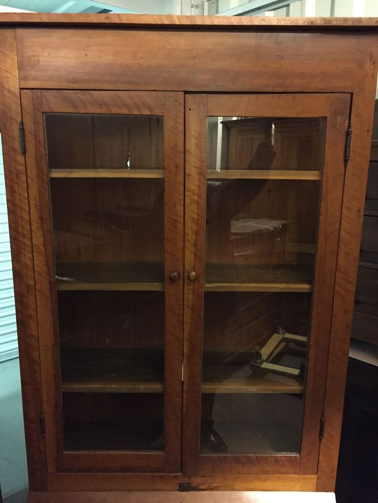 Beautiful Antique Early Solid Cherry bookcase cabinet one piece tall 2 doors 3 fixed shelves over 2 chamfered drawers center drop door 39w13d18d83h.   eBay!