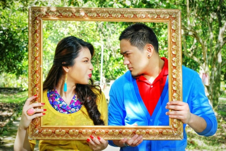 pre-wedding photo: stroll at the park. blue and yellow. colorful theme. prenup. love. onetruelove.