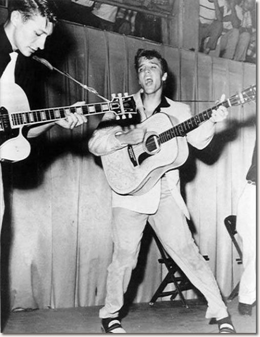 Scotty Moore and Elvis at Fort Homer W. Hesterly Armory, Tampa, FL July 31, 1955