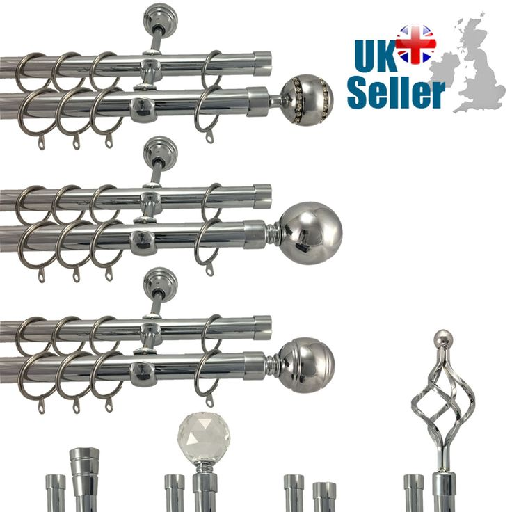 Metal #double extendable curtain pole rod set #polished #chrome 19mm & 19mm ,  View more on the LINK: http://www.zeppy.io/product/gb/2/132072482026/