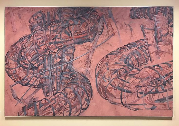 """""""Structures in Space"""" 1972, 60x90"""" by Peter Bardazzi. On view at Rockefeller University. The painting was bought by Dorothy Miller, who was Curator at the Museum of Modern Art, MoMA. It then became part of the Rockefeller University collection. It was part of my structural abstraction series, sometimes called the spiral paintings ."""