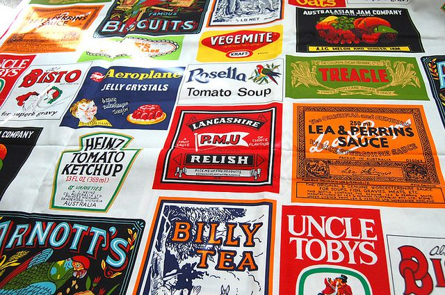 Australian food labels fabric by ayumills, via Flickr