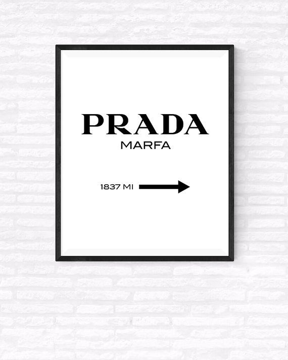 Prada Marfa Printable Vertical Poster, Gossip Girl, Fashion Art Print, Girls Room Decor, Marfa from NY distance, Portrait Prada Sign Print