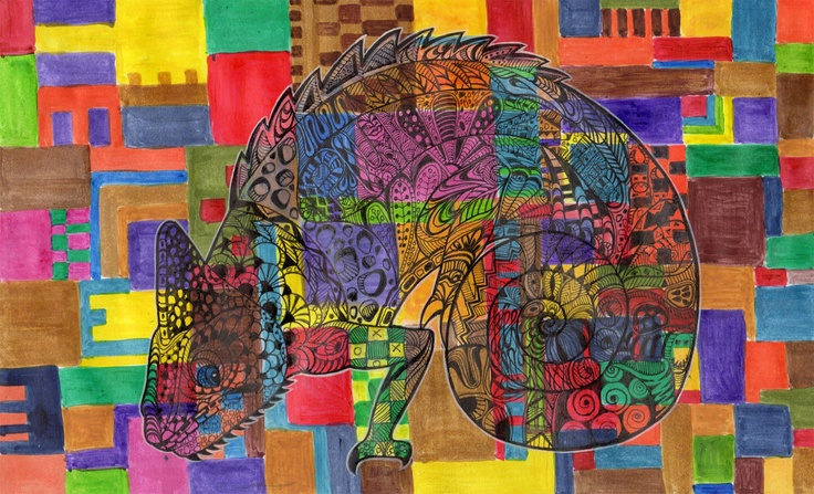 """Puzzled""  Mixed media on paper.  valburgh.blogspot.com"