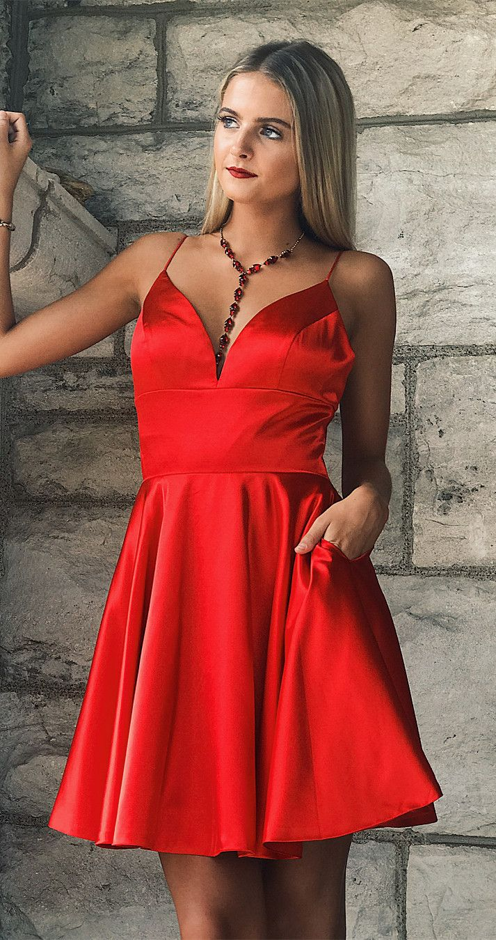Cute straps short red homecoming dress party dress homecoming