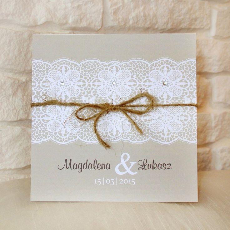 Zaproszenia ślubne rustykalne ze wstążką