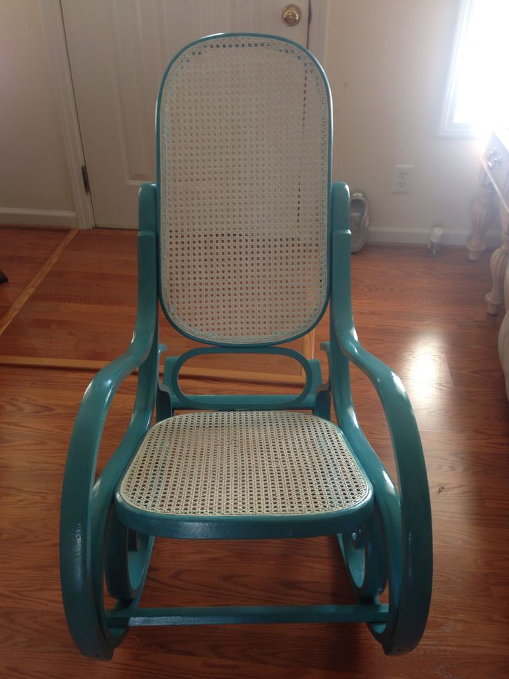 Bentwood Rocker! AFTER. Painted with DIY chalk paint (plaster of Paris, water, and valspar's aqua dance in satin finish) and finished with Minwax Polyurethane Clear Satin finish!