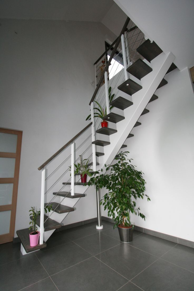 Cr ation originale des escaliers potier limon central en - Escalier bois gris ...