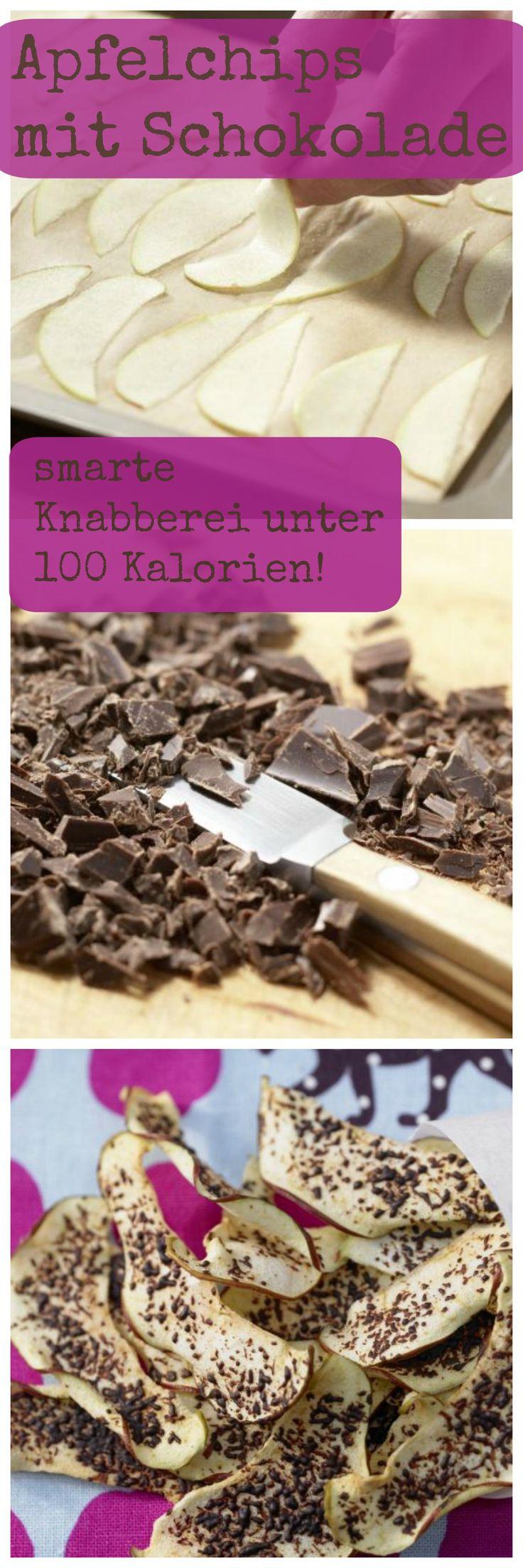 Diese kalorienarme Knabberei schmeckt nicht nur Kindern: Apfelchips mit Schokolade | http://eatsmarter.de/rezepte/apfelchips-schokolade