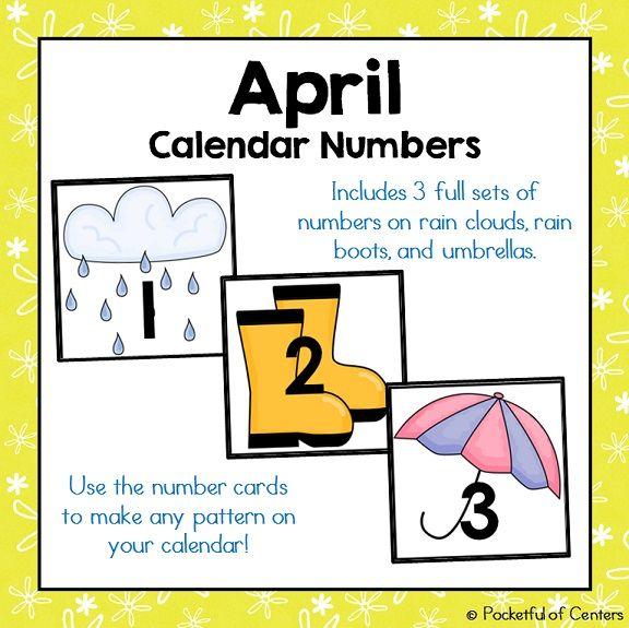 April Calendar Pieces : Best ideas about calendar numbers on pinterest prek