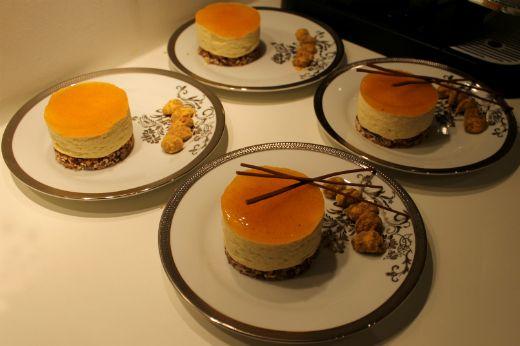 Dessertkager med passionsfrugt og flødechokolade