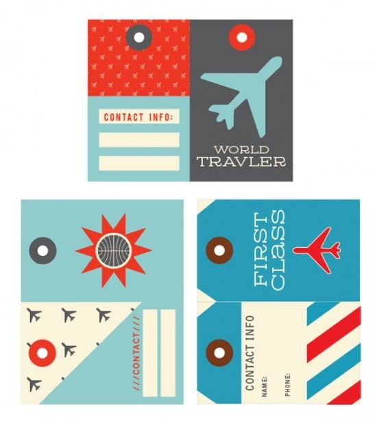 """Cute luggage tags -- print and laminate!  At the risk of looking a gift horse in the mouth, """"traveler"""" is misspelled, but I'm definitely using the others (love the nod to the old Pan Am logo).  Via onecharmingparty blog."""