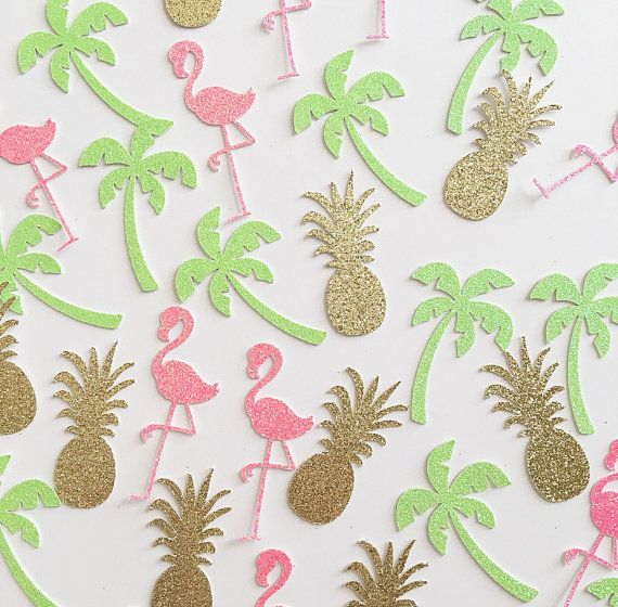 Pineapple Flamingo Palm Tree Confetti Tropical Party Luau Flamingo Party…