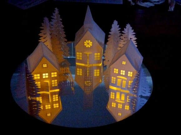 Ashbee Design Silhouette Projects: Tea Light Village Tutorial Even has printable village!