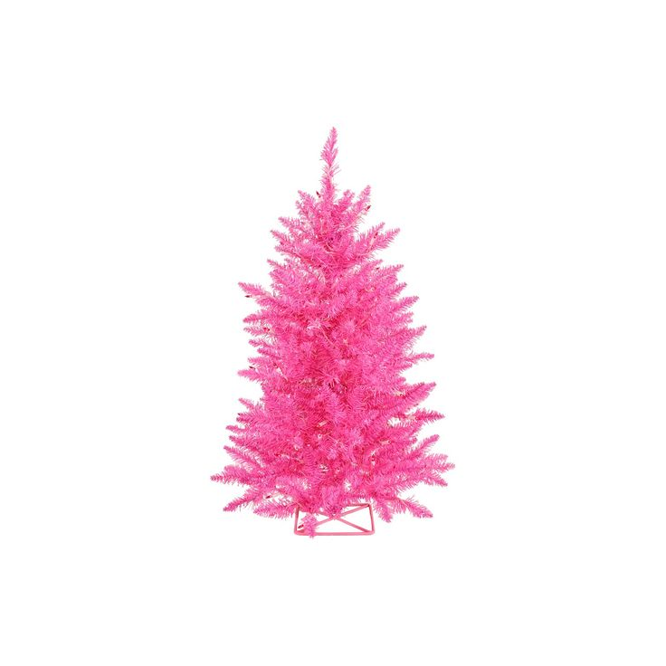 3 ft Artificial Christmas Tree with Pink LED Lights : Target