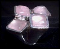 999 fijn zilveren ring met rozenkwarts half edelsteen