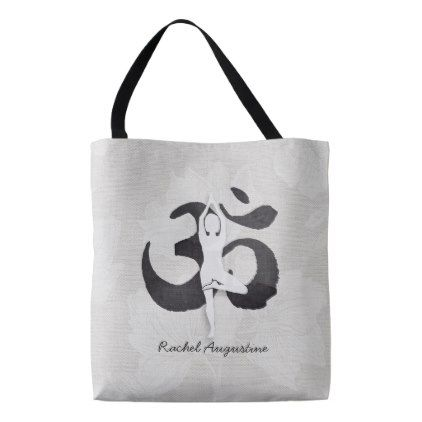 YOGA Instructor Watercolor Meditation Pose Om Sign Tote Bag - #customize create your own personalize diy