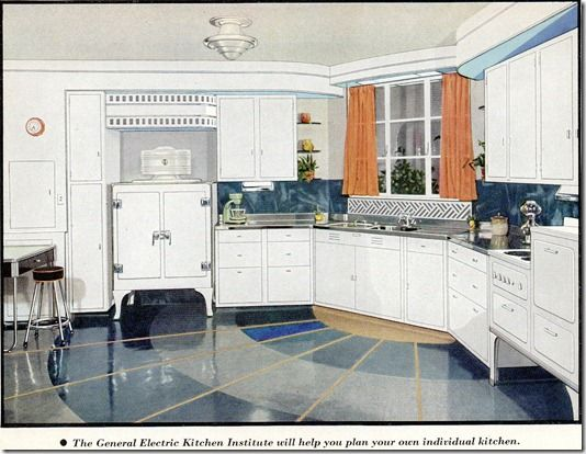 retro kitchen floor kitchens from the 1930 s and 1940 s no pattern required 1935