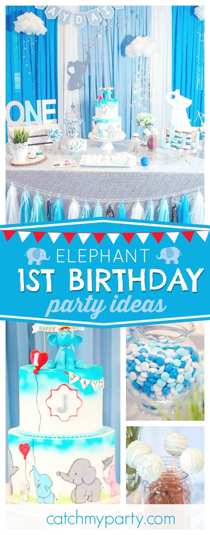 Check out this awesome Elephant inspired 1st Birthday party! The birthday cake is adorable!! See more party ideas and share yours at CatchMyParty.com