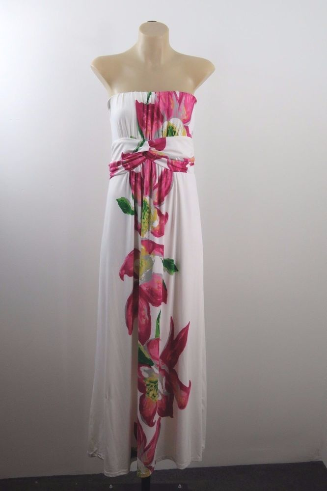 Size XL 16 Ladies White Maxi Dress Floral Casual Boho Chic Gypsy Strapless Style  | eBay