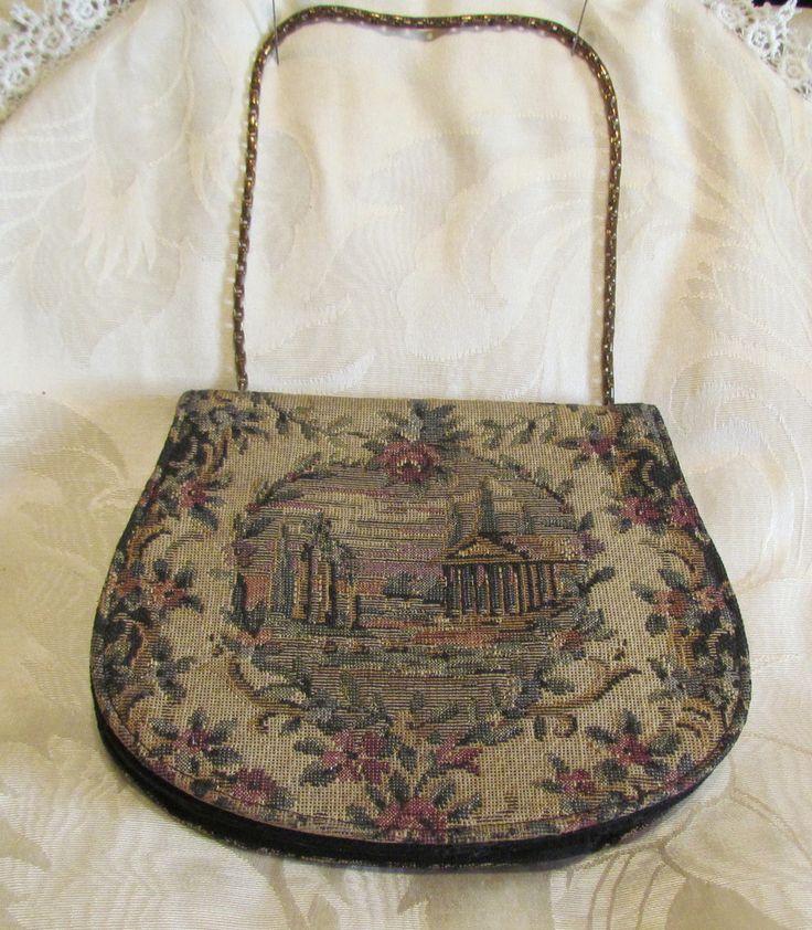 Victorian Tapestry Purse 1900s Petit Point Handbag Loomed Needle