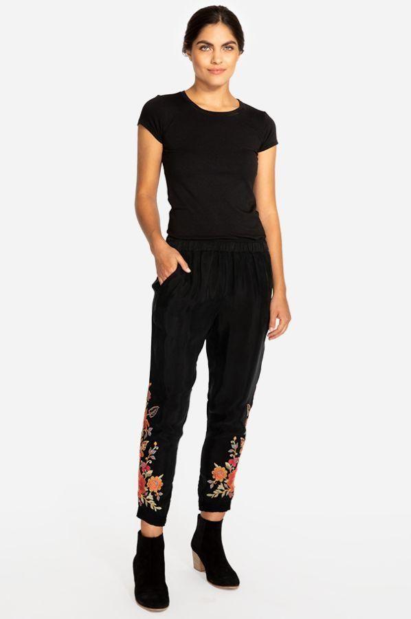 Johnny Was Workshop Violette Black Jogger Pants Embroidered Boho Chic W61018 NEW – Boho Fashion