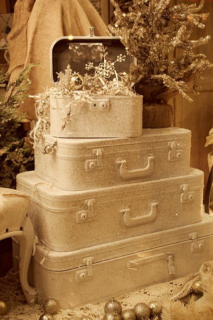 White stacked suitcases for Christmas