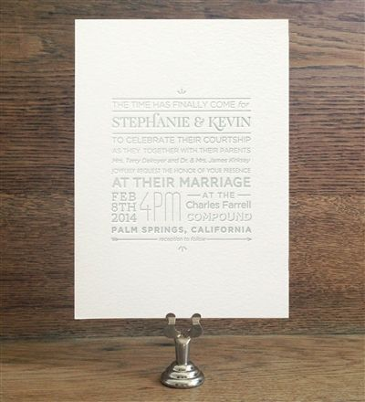 Succulent - Letterpress wedding invitation from Tie That Binds