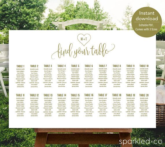 This gold initial heart wedding seating chart template is perfect affordable diy option to organize guests on your big day.