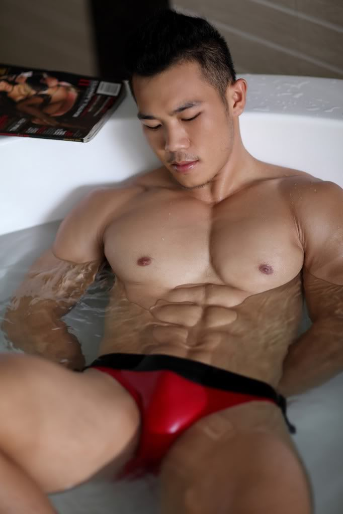 Asian Hunk Cum Covered