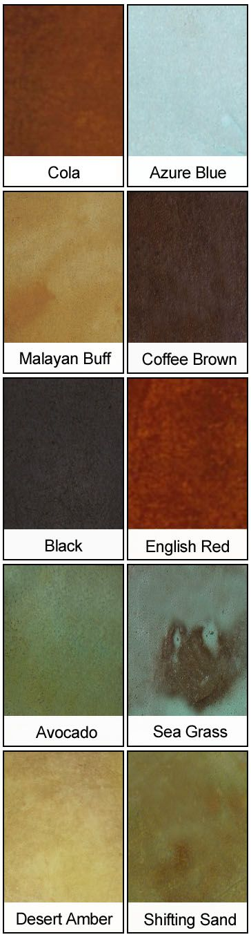 Direct Colors Acid Stain Colors for Interior and Exterior Use on Floors, Outdoor Concrete, Countertops and Decor
