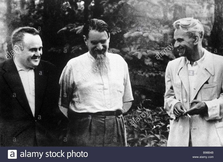 Famous Soviet scientists Designer Sergei Korolev left physicist Igor Kurchatov center and mathematician Mstislav Keldysh right Stock Photo