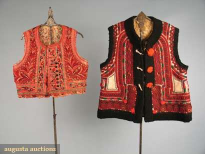 2 Rumanian Leather Vests, 1850 & Late 19th C, Augusta Auctions, October 2008 Vintage Clothing & Textile Auction, Lot 237