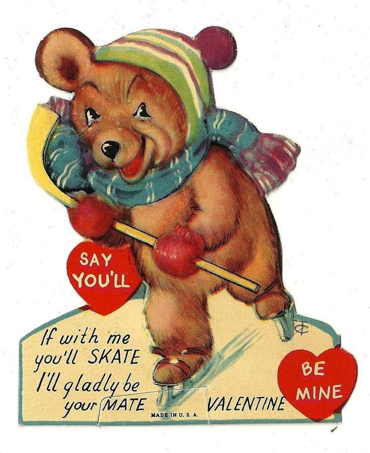 twelvetrees valentine bear ice skating and playing hockey vintage card