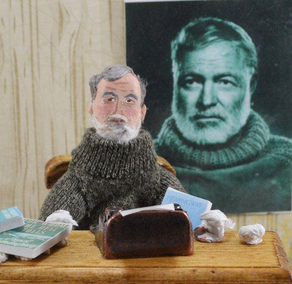 Ernest Hemingway Diorama Miniature Scene  by UneekDollDesigns