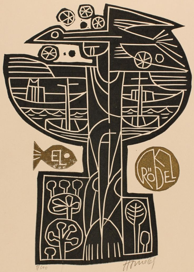 Klaus Rödel bookplate (or ex libris), by Miroslav Houra (1969).